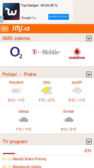 Mobile preview of sms.cz