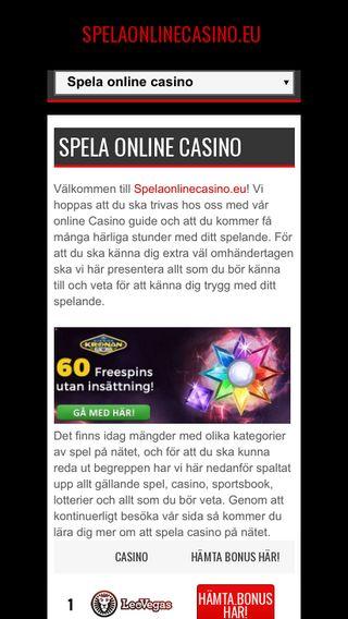 Mobile preview of spelaonlinecasino.eu