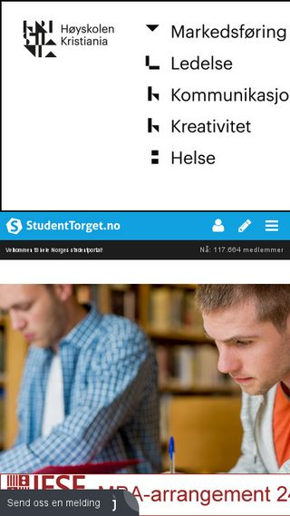 Mobile preview of studenttorget.no