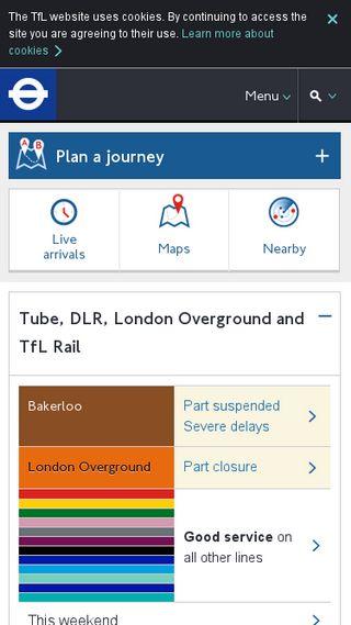 Mobile preview of tfl.gov.uk