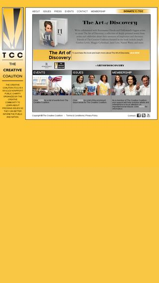 Mobile preview of thecreativecoalition.org