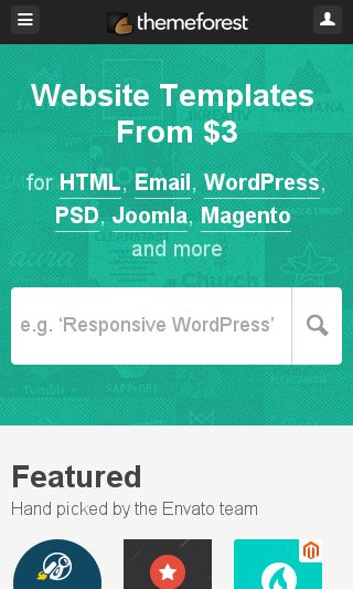 Mobile preview of themeforest.net