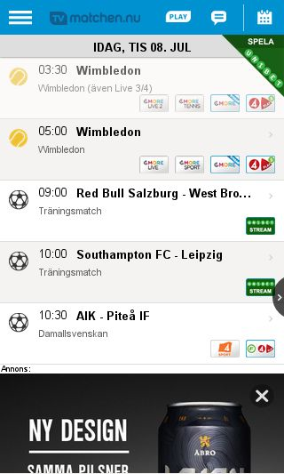 Mobile preview of tvmatchen.nu