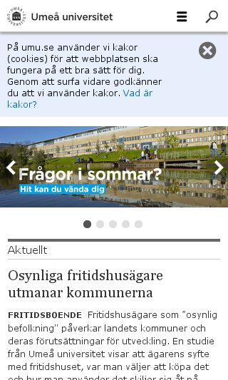 Mobile preview of umu.se