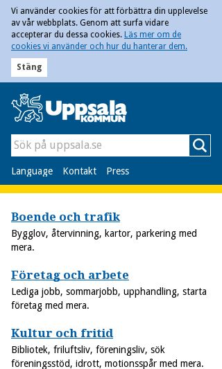 Mobile preview of uppsala.se