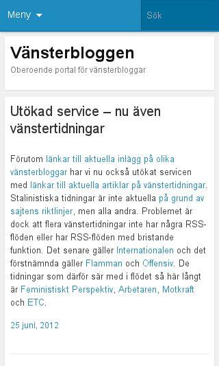 Mobile preview of vansterbloggar.se