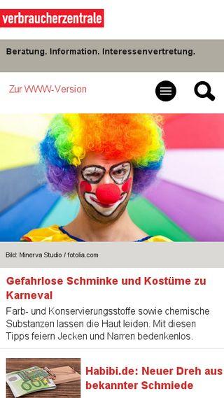 Mobile preview of verbraucherzentrale.de