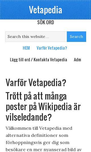 Mobile preview of vetapedia.se