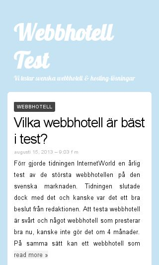 Mobile preview of webbhotelltest.eu