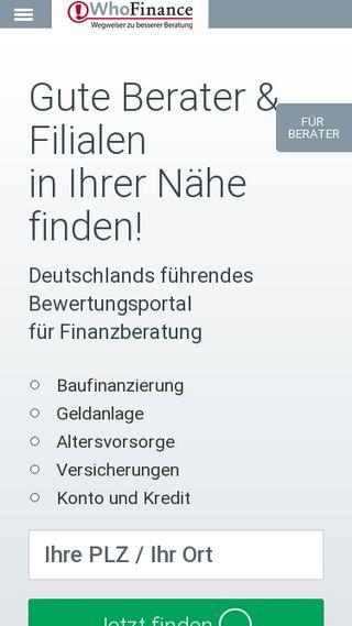 Mobile preview of whofinance.de