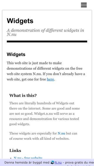 Mobile preview of widgets.n.nu