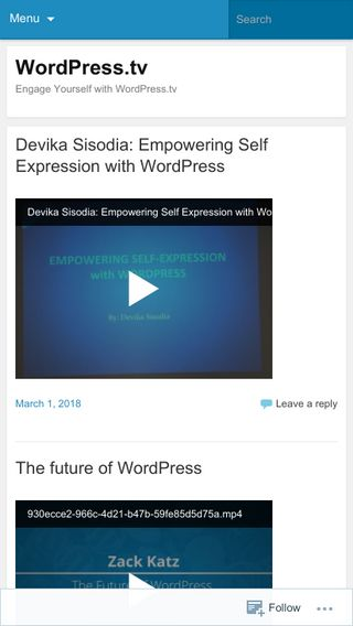 Mobile preview of wordpress.tv