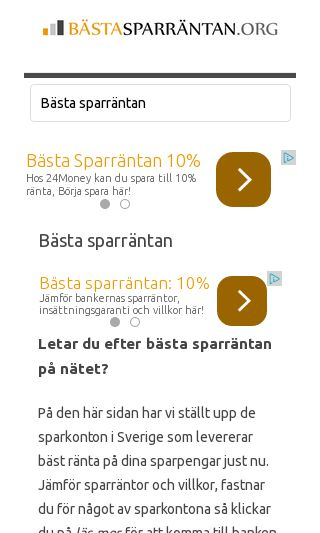 Mobile preview of bästasparräntan.org