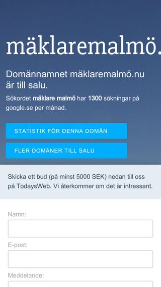 Mobile preview of mäklaremalmö.nu