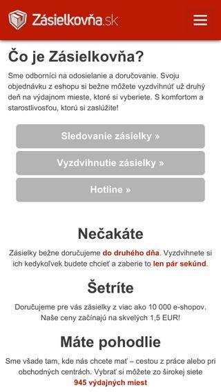 Mobile preview of zasielkovna.sk